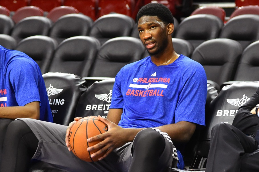 PHILADELPHIA, PA - DECEMBER 15:  Joel Embiid #21 of the Philadelphia 76er and Sam Hinkie, General Manager of the Philadelphia 76ers before the game against the Boston Celtics on December 15, 2014 at Wells Fargo Center in Philadelphia, PA. NOTE TO USER: User expressly acknowledges and agrees that, by downloading and or using this photograph, User is consenting to the terms and conditions of the Getty Images License Agreement. Mandatory Copyright Notice: Copyright 2014 NBAE (Photo by Jesse D. Garrabrant/NBAE via Getty Images)