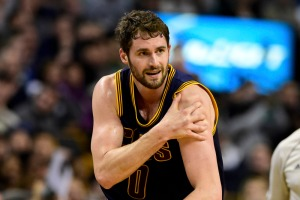 Apr 26, 2015; Boston, MA, USA; Cleveland Cavaliers forward Kevin Love (0) injures his shoulder during the first half in game four of the first round of the NBA Playoffs against the Boston Celtics. at TD Garden. Mandatory Credit: Bob DeChiara-USA TODAY Sports ORG XMIT: USATSI-224324 ORIG FILE ID:  20150426_kkt_ad7_009.jpg